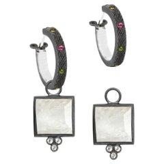 Ariana Moonstone Oxidized Earrings