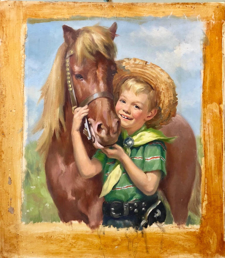 Original Vintage Illustration Boy with Horse Oil Painting Americana - Brown Figurative Painting by Ariane Beigneux