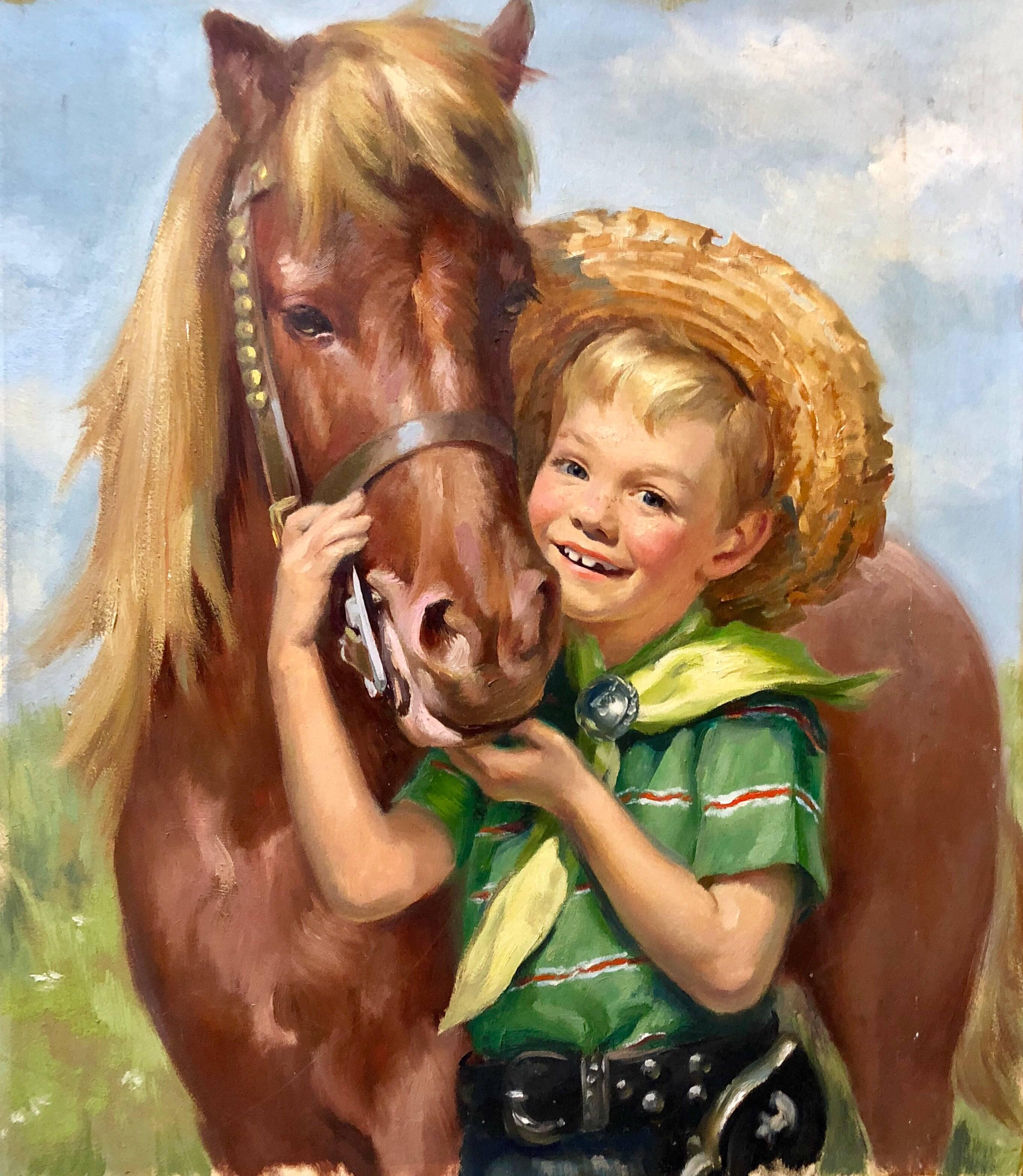 Original Vintage Illustration Boy with Horse Oil Painting Americana