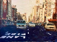 Arie Azene Israeli Photo Realist Oil Painting Manhattan New York Street Scene