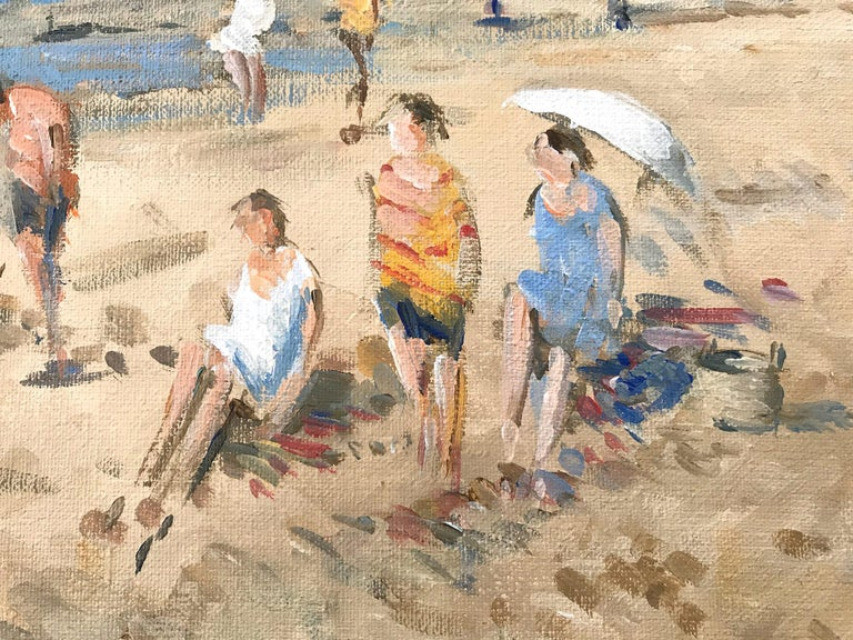 A wonderfully rich beach scene done in Zandvoort Holland in the Mid-20th Century depicting figures in the sand. Some figures are by the water as kids play in the distance. The impressionist details are greatly admired as Arie van Noort is considered