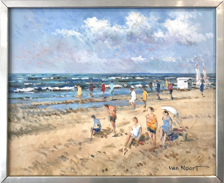 """Arie C. Van Noort Landscape Painting - """"At the Beach"""" Impressionistic Oil Painting of Figures in Zandvoort Holland"""