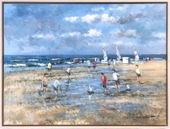 """Beach Scene with Figures and Sailboats"" Impressionistic Oil Painting in Holland"