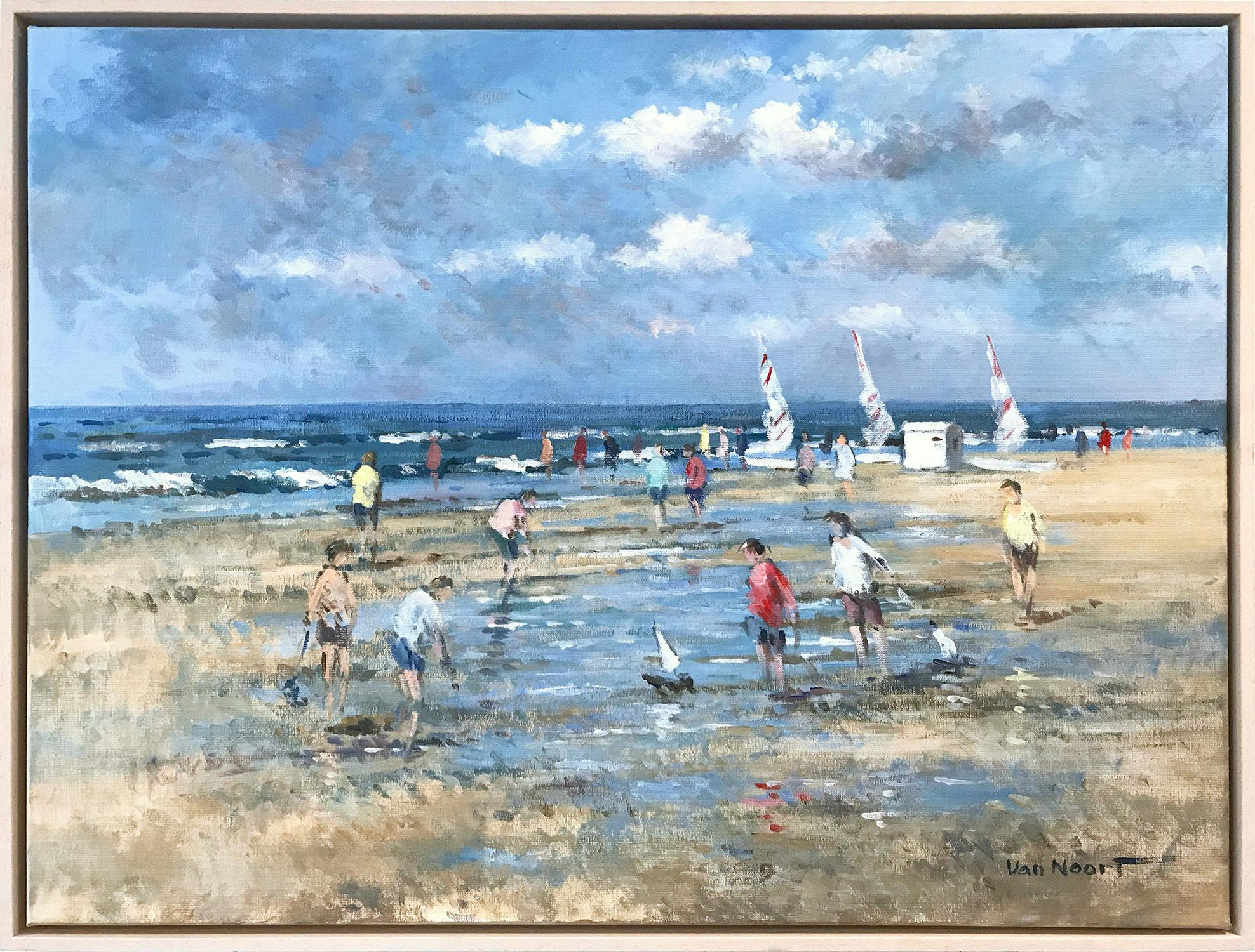 """""""Beach Scene with Figures and Sailboats"""" Impressionistic Oil Painting in Holland"""