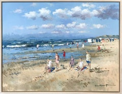 """""""Beach Scene with Figures"""" Impressionistic Oil Painting in Zandvoort Holland"""