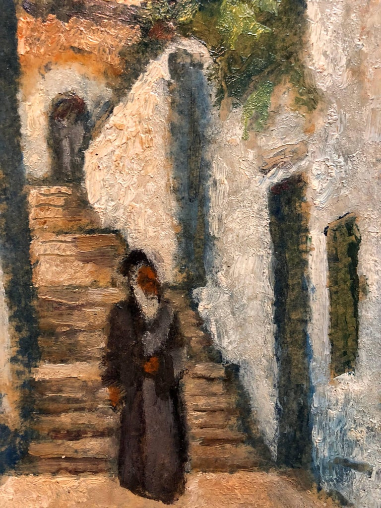 Rabbi in Jerusalem Modernist Israeli Judaica Oil Painting  - Brown Figurative Painting by Arieh Allweil