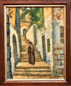 Rabbi in Jerusalem Modernist Israeli Judaica Oil Painting