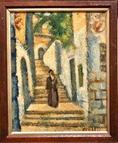 Rabbi in Jerusalem Modernist Israeli Judaica Oil Painting