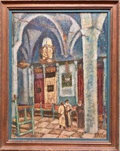 Synagogue Interior Jerusalem Modernist Israeli Judaica Oil Painting