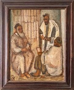 Synagogue Interior Jerusalem Modernist Israeli Judaica Oil Painting Rabbi Prayer