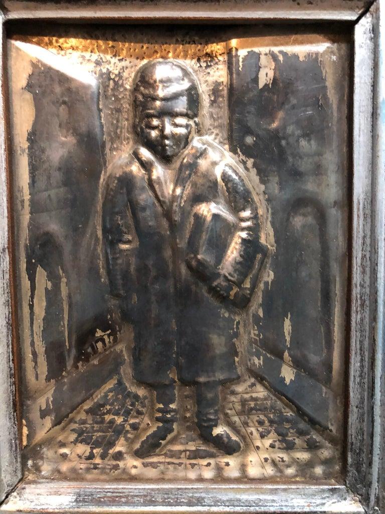 Judaica Silvered Copper Repousse Sculpture Relief Plaque Shtetl Yeshiva Bochur   - Brown Figurative Sculpture by Arieh Merzer