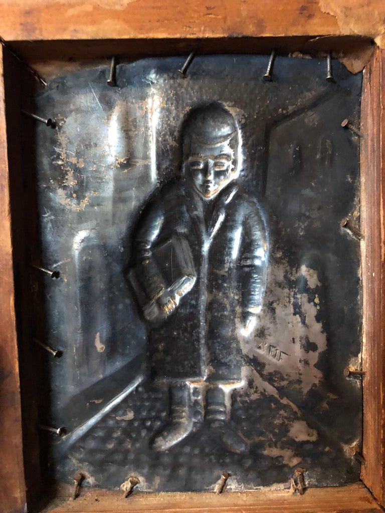 Judaica Silvered Copper Repousse Sculpture Relief Plaque Shtetl Yeshiva Bochur   For Sale 1