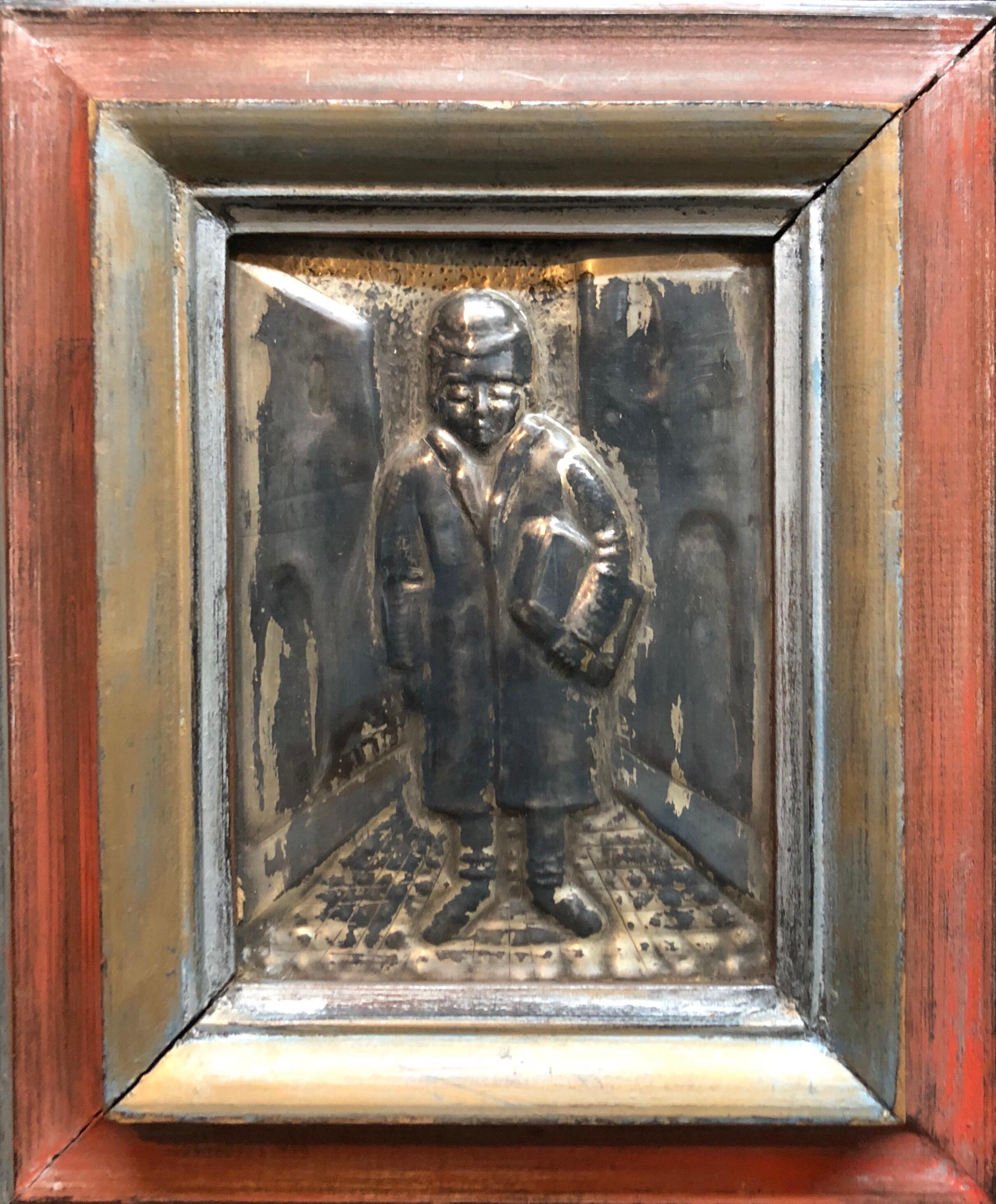Judaica Silvered Copper Repousse Sculpture Relief Plaque Shtetl Yeshiva Bochur