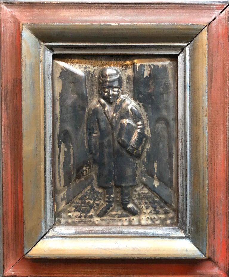 Arieh Merzer Figurative Sculpture - Judaica Silvered Copper Repousse Sculpture Relief Plaque Shtetl Yeshiva Bochur