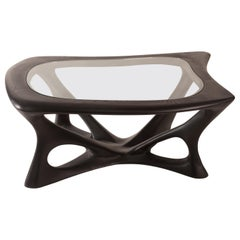 Ariella Coffee Table with Glass Top, Solid Wood, Ebony Finish
