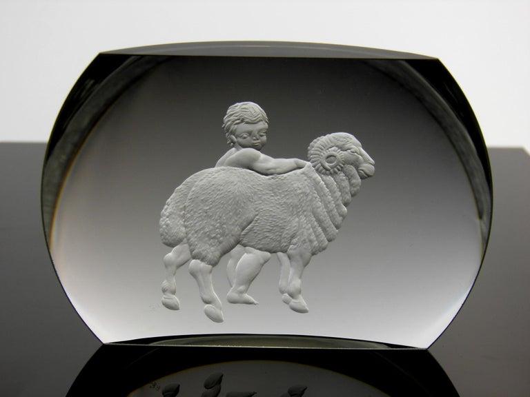 Bohemian Aries Glass Block Zodiac Signs Panoramic Optical Glass For Sale