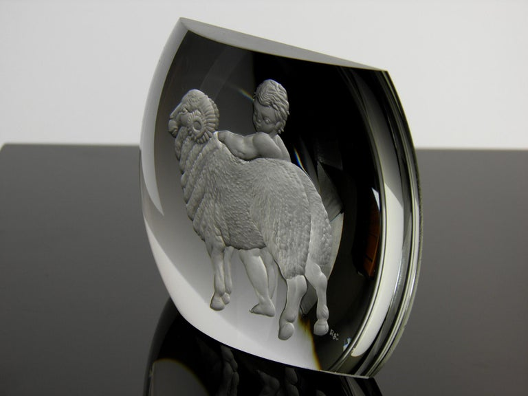 Aries Glass Block Zodiac Signs Panoramic Optical Glass In Excellent Condition For Sale In Nový Bor, CZ