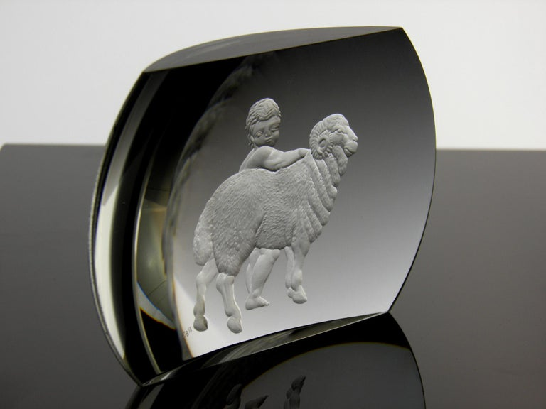 Contemporary Aries Glass Block Zodiac Signs Panoramic Optical Glass For Sale