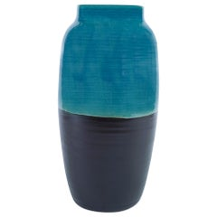 Aries Large Vase in Black and Blue Ceramic by CuratedKravet