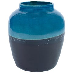 Aries Medium Vase in Black and Blue Ceramic by CuratedKravet