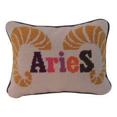 Aries Needlepoint Tapestry Petite Decorative Pillow by Jonathan Adler