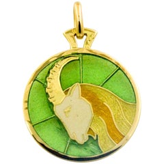 Aries Plique a Jour Glass Enamel 18 Karat Yellow Gold Pendant