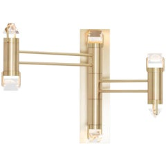 Aries III.I Wall Sconce in Brushed Brass with Faceted Glass and LED lights