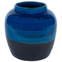 Aries Small Vase in Black and Blue Ceramic by CuratedKravet