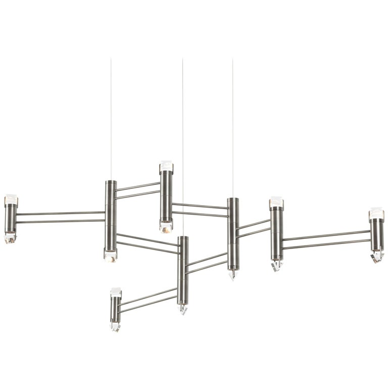 Aries VIII.I Chandelier in Polished Nickel with Faceted Glass and LED lights For Sale