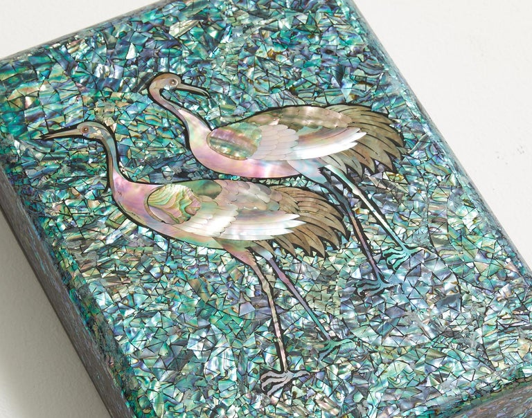 Arts and Crafts Arijian Blue Mother of Pearl Decorative Wooden Box with Crane Design