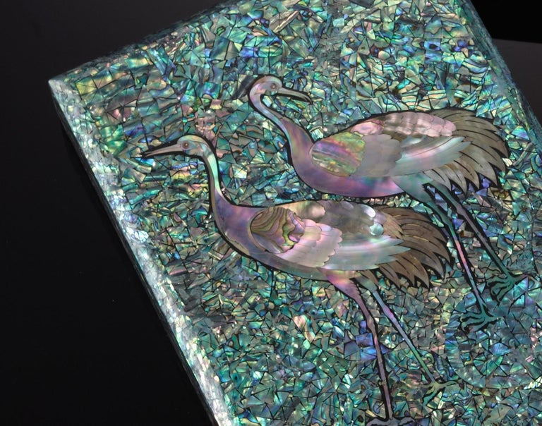 Arijian Blue Mother of Pearl Decorative Wooden Box with Crane Design In New Condition In Namyangju-si, KR
