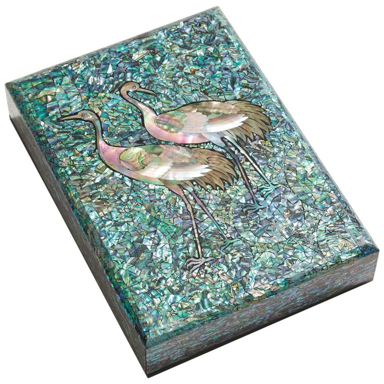 Arijian Blue Mother of Pearl Decorative Wooden Box with Crane Design