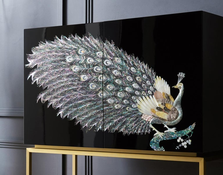 Modern Arijian Handcrafted Black Peacock Bar Cabinet with Gold Leg For Sale