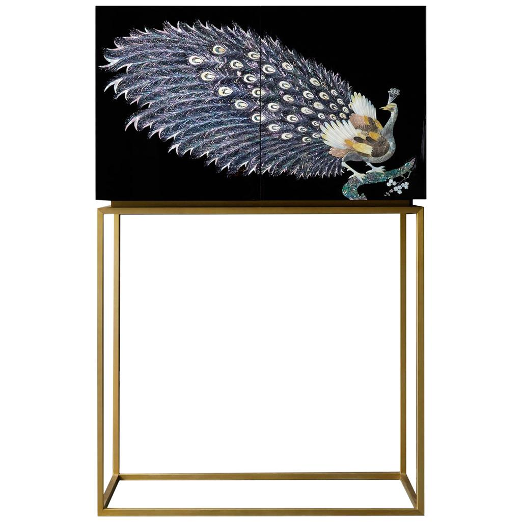 Arijian Handcrafted Black Peacock Bar Cabinet with Gold Leg