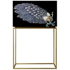 Arijian Handcrafted Mother of Pearl Black Peacock Bar Cabinet with Gold Leg