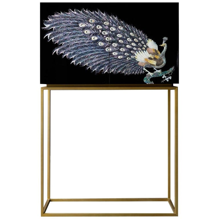 Arijian Handcrafted Black Peacock Bar Cabinet with Gold Leg For Sale