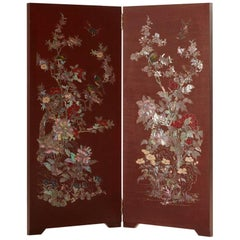 Arijian Lacquered Wood Room Divider with Mother of Pearl Flower and Bird Design