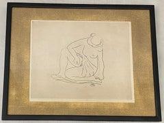 "Artistide Maillol (1861-1944) ""Femme Nu Assis"" Original Etching C.1930"