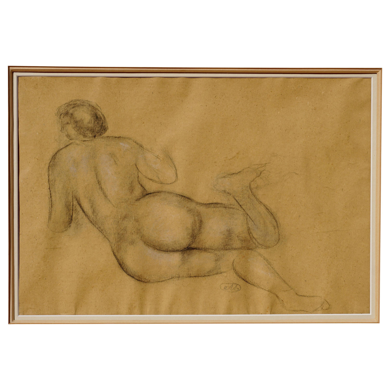 "Aristide Maillol Charcoal Drawing ""Nu De Dos"""