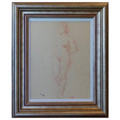 Aristide Maillol Original Sanguine Nude Drawing, 1950s