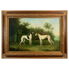 Aristocratic Painting of Pair of Greyhounds in Romantic Landscape
