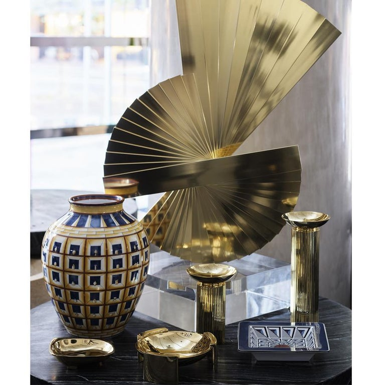 Modern Aristotle Large Solid Brass Candle Holder by Greg Natale For Sale