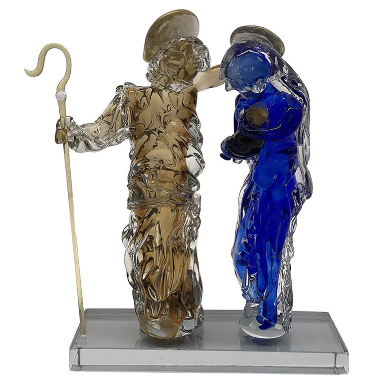 Italian Aritistic Murano Glass Holy Family Sculpture by Roberto Beltrami For Sale