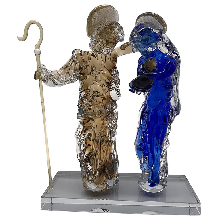 Hand-Crafted Aritistic Murano Glass Holy Family Sculpture by Roberto Beltrami For Sale