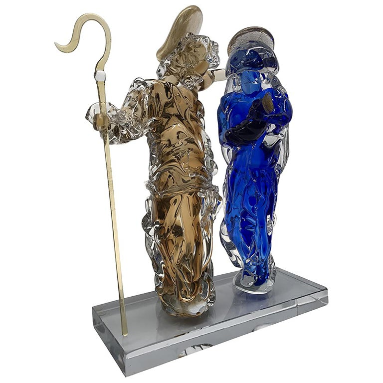 Aritistic Murano Glass Holy Family Sculpture by Roberto Beltrami For Sale