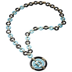 Arizona Natural Turquoise, Onyx and Diamond Pendant Necklace
