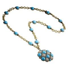 Arizona Natural Turquoise, Sapphire and Diamond Necklace