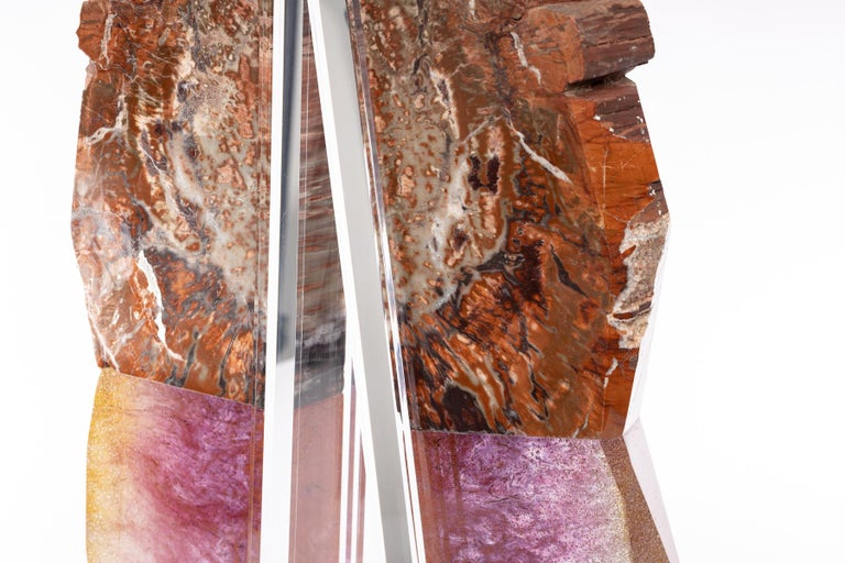 Arizona Petrified Wood and Boil Glass fusion Sculpture For Sale 4