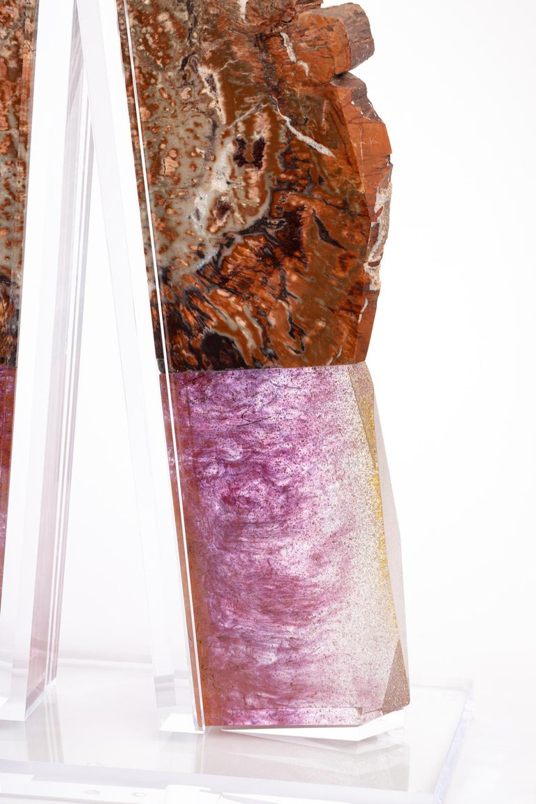 Arizona Petrified Wood and Boil Glass fusion Sculpture For Sale 7