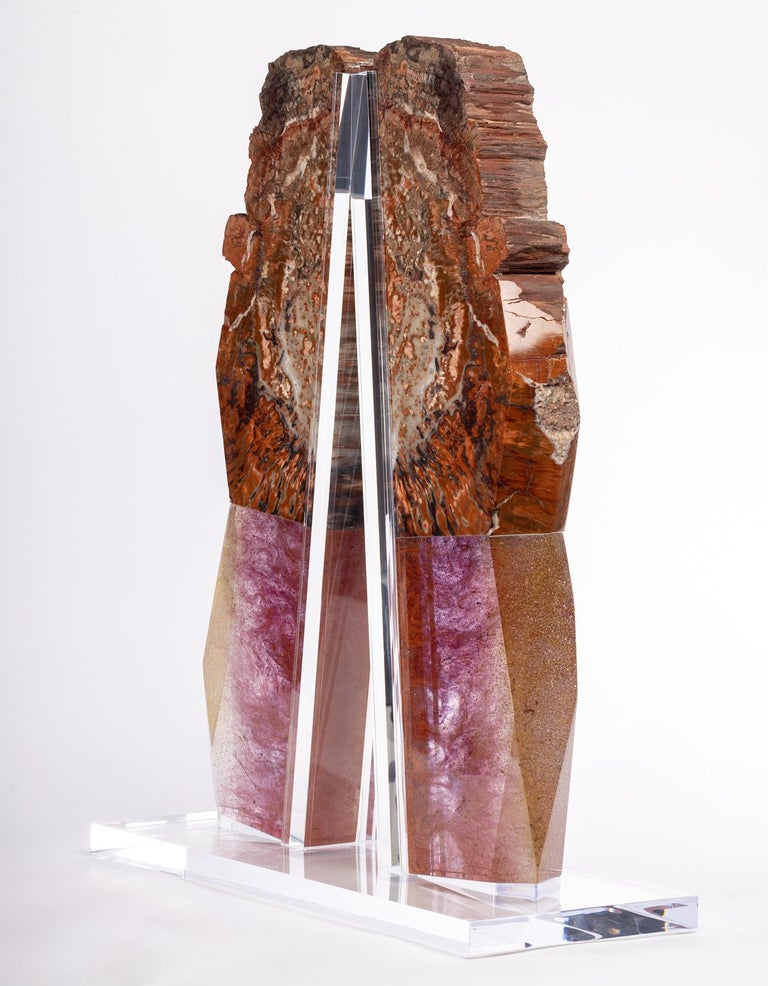 Organic Modern Arizona Petrified Wood and Boil Glass fusion Sculpture For Sale